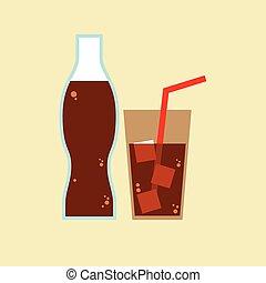verre, cola., bouteille