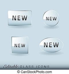 verre, collection, icône