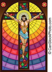 verre, crucifixion, taché, peinture