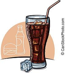 verre, glace, kola