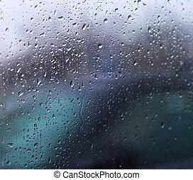 verre, gouttes, pluie, voiture