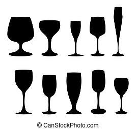 verre, images, ensemble, lunettes, silhouette, boissons, différent