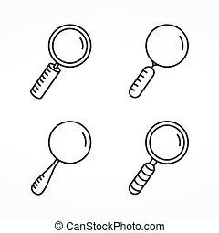 verre, ligne, magnifier, icônes