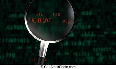 """verre, magnifier, binaire, résumé, code., """"a, """", balayages"""