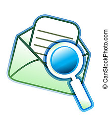 verre, magnifier, enveloppe, email