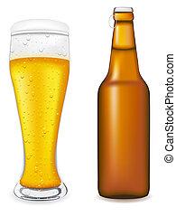 verre, malade, vecteur, bouteille bière