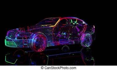 verre, néon, éclairage, voiture