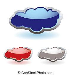 verre, pelucheux, nuages