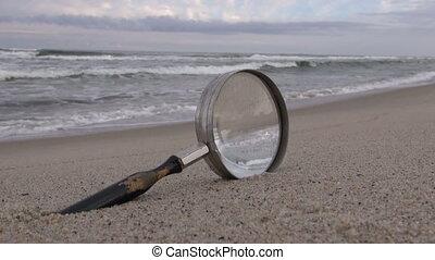 verre, plage, magnifier
