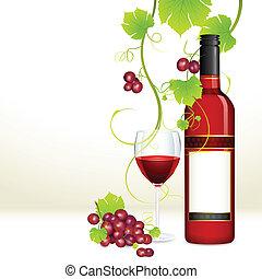 verre, raisin, bouteille, vin