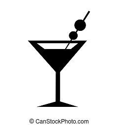 verre, silhouette, martini, icon.