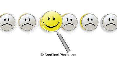 verre, smileys, choisir, magnifier, bonheur, rang