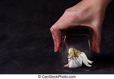 verre, sous, ange, piégé