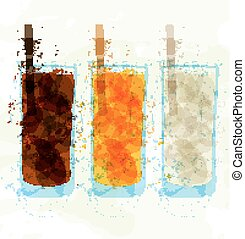 verre, stains., ensemble, multi-coloré, tasse