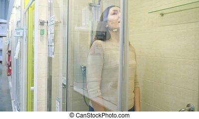 verre, stalle, profil, argent, douche, clair, femme, magasin, inspection