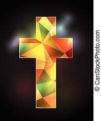 verre, taché, chrétien, croix