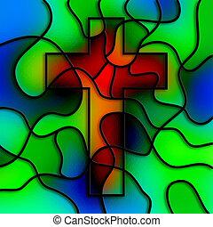 verre, taché, croix