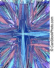 verre, taché, religieux, croix, illustration