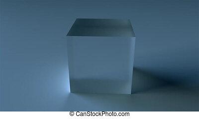 verre, translucide, cube