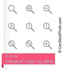 verre, vecteur, ensemble, magnifier, icône