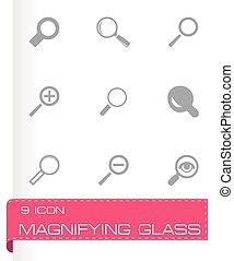 verre, vecteur, ensemble, magnifier, icônes