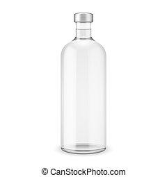 verre, vodka, cap., bouteille, argent