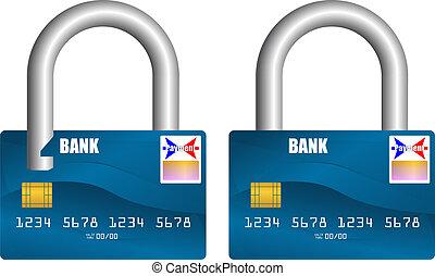 verrouillé, carte bancaire, déverrouillé