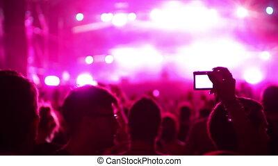 vers, atmosphérique, foule, festival., danse, timelapse, regarder, musique, ombre, étape