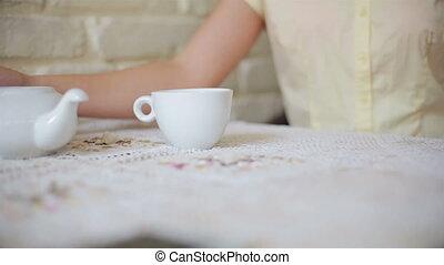 verse, thé, girl, café, jeune