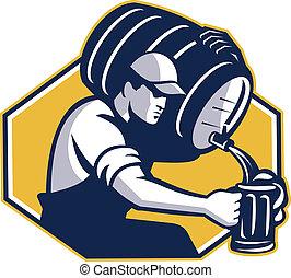 verser, barman, tonnelet, bière, retro, baril