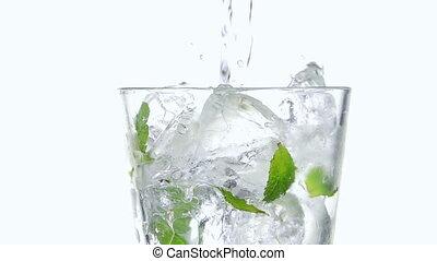 verser, cubes., soude, glace, verre
