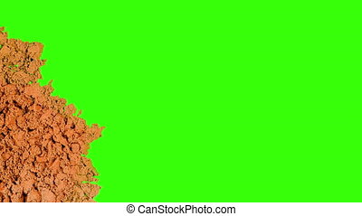 verser, formulaire, chromakey., transition, arrêter mouvement, arrière-plan., sable, animation, vidéo, fond, vert