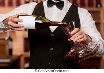 verser, image, tondu, sommelier, carafe, decanter., vin