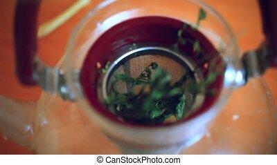 verser, thé citron, feuilles, gingembre, eau, ébullition, mettre, brasser, vert, théière, menthe, théière