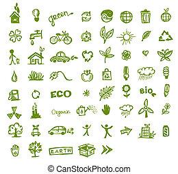 vert, écologie, conception, ton, icônes