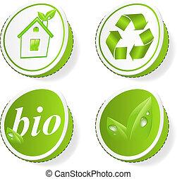vert, écologie, ensemble, étiquettes