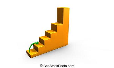 vert, économie, flèche, graphs., santé