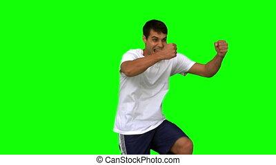 vert, écran, homme, faire gestes, heureux