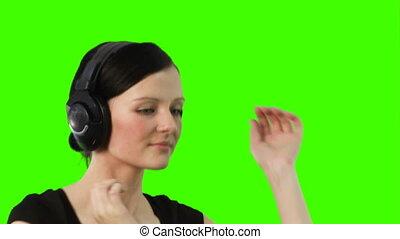 vert, écran, musique, femme, écoute
