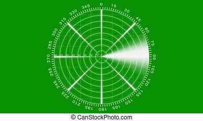 vert, écran, -, radar, animation