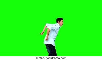 vert, écran, sauter, homme, jeune