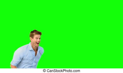 vert, écran, sauter, homme souriant