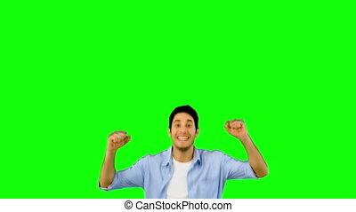 vert, écran, sauter, joie, homme