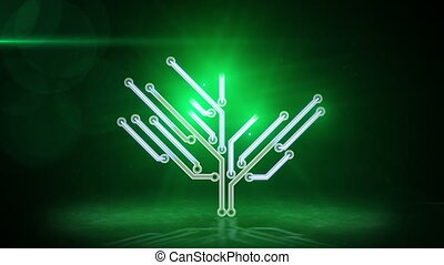 vert, électronique, high-tech, arbre, boucle