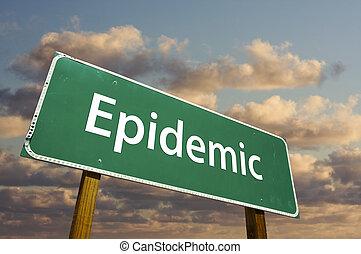 vert, épidémie, panneaux signalisations