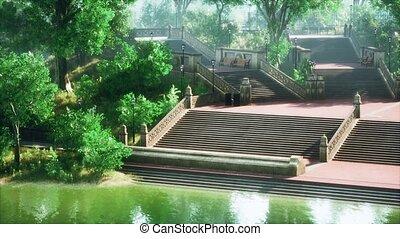 vert, étang, soleil, luxuriant, parc, tranquille, encadré, pays boisé