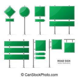 vert, 3d, route, vecteur, réaliste, signe blanc, mockup, set., détaillé, gabarit