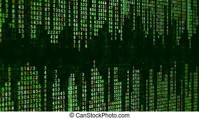 vert, animation., données, matrice, numérique