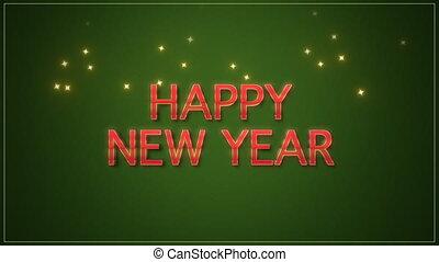 vert, année, closeup, heureux, nouveau, fond, texte, animé