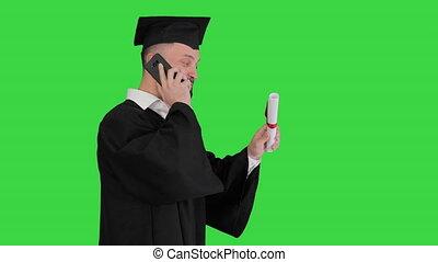 vert, appeler, marche, écran, key., confection, chroma, étudiant, recevoir diplôme